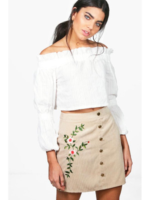 BOOHOO Inez Chunky Cord Embroidered Side Skirt