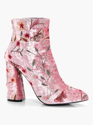 BOOHOO Isabelle Embroidered Velvet Ankle Boot