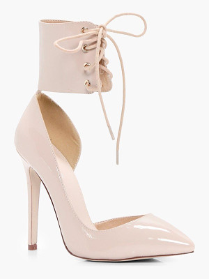 BOOHOO Isobel Lace Up Ankle Band Court Stiletto
