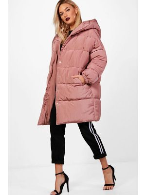 BOOHOO Isobel Longline Quilted Coat With Hood
