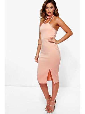 Boohoo Issy Choker Detail Side Split Midi Dress