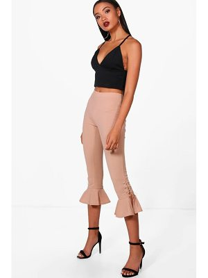 Boohoo Lace Up & Frill Hem Trousers