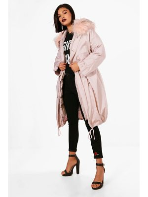 BOOHOO Ivy Parka With Faux Fur Trim & Detachable Lining