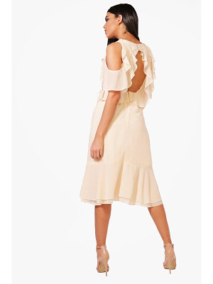 Boohoo Jaclyn Frill Open Back Midi Dress