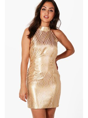 Boohoo Jacquard Stripe Bodycon Dress