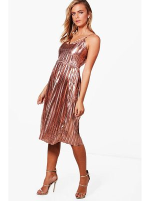 BOOHOO Jasmine Metallic Pleat Strappy Midi Dress
