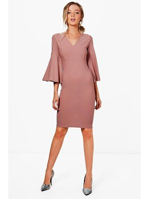 BOOHOO Jennifer Flare Sleeve Fitted Midi Dress
