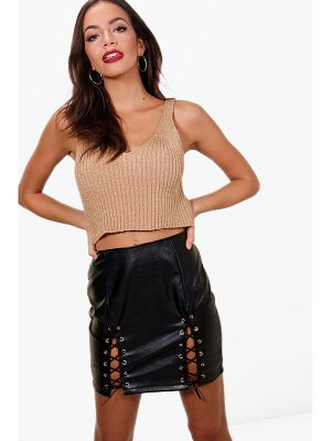 BOOHOO Jennifer Metallic Rib Knit Crop