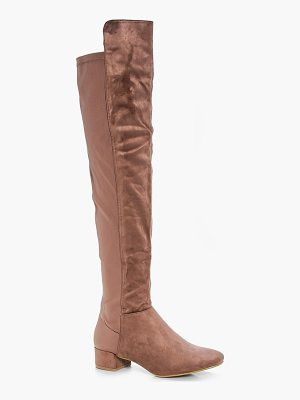 BOOHOO Jess Block Heel Thigh High Boot