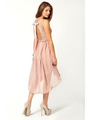 Boohoo Sequin Top Open Back Chiffon Dip Hem Dress