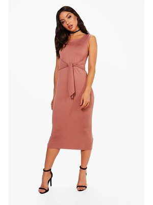 BOOHOO Jess Tie Front Detail Midi Dress