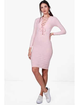 BOOHOO Jessica Lace Up Rib Knit Midi Dress