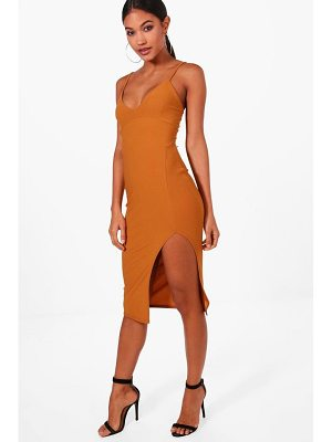 BOOHOO Jessica Plunge Neck Side Split Midi Dress