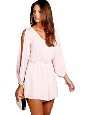 BOOHOO Jessica Split Sleeve Crepe Playsuit