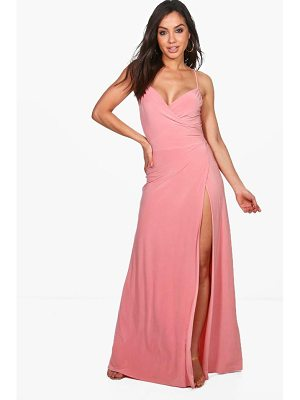 BOOHOO Jessie Strappy Slinky Wrap Maxi Dress