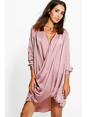 BOOHOO Jinnie Satin Wrap Front Shift Dress