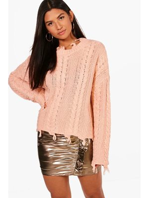 BOOHOO Joanna Distressed Crop Cable Jumper