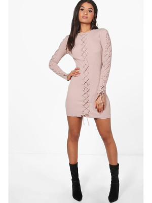 BOOHOO Joanna Lace Up Detail Bodycon Dress