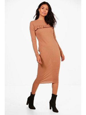 BOOHOO Joanna Ribbed Frill Bodycon Midi Dress