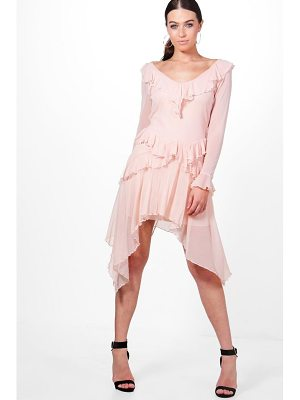 BOOHOO Jodie Mesh Frill Long Sleeve Skater Dress