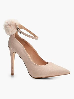 BOOHOO Josie Faux Fur Pom Trim Ankle Court Shoe