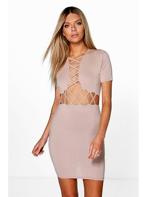 BOOHOO Josie Lattice Cut Out Bodycon Dress