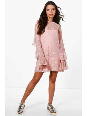 BOOHOO Josie Star Mesh Shift Dress