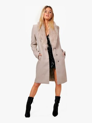 BOOHOO Julia Faux Fur Collar Wool Look Coat