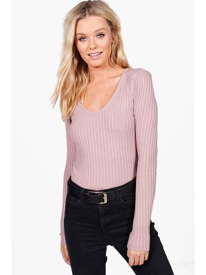 BOOHOO Julia Fine Ribbed V-Neck Jumper
