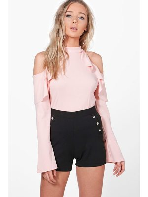 BOOHOO Julia Frill Detail Cold Shoulder Top