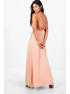 BOOHOO Kaitlyn Chiffon Strappy Back Maxi Dress