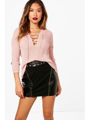 BOOHOO Karina Lace Up Loose Knit Jumper