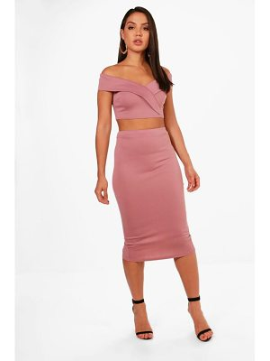 BOOHOO Kat Off Shoulder Crop And Skirt Co-Ord