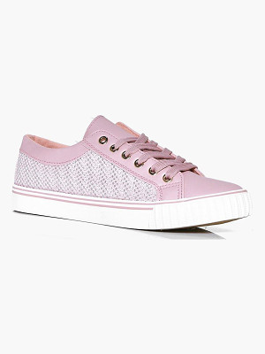 BOOHOO Kate Mesh Insert Lace Up Trainer