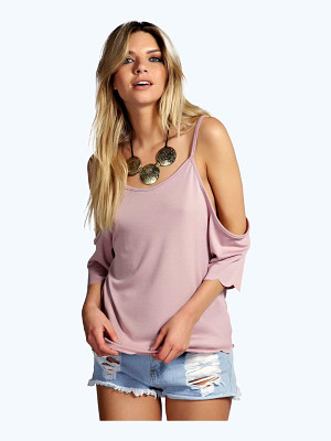 Boohoo Kate Open Shoulder Scallop Edge Top