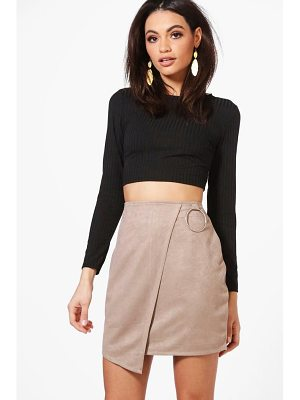 BOOHOO Katiah Ring Detail Suedette Asymetric Mini Skirt