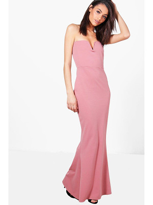 BOOHOO Katie Bandeau Plunge Fishtail Maxi Dress