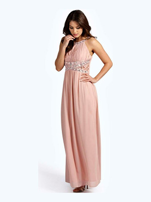 BOOHOO Katie Embellished Lace Detail Chiffon Maxi Dress