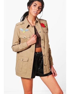 BOOHOO Kaya Embroidered Utility Jacket