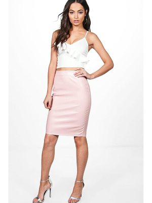 BOOHOO Keira Leather Look Midi Skirt