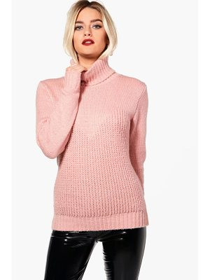 BOOHOO Kerry Contrast Stitch Roll Neck Oversized Jumper
