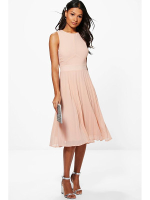 Boohoo Chiffon Pleated Skirt Midi Skater Dress