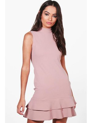 BOOHOO Kiki Sleeveless Ruffle Hem Bodycon Dress