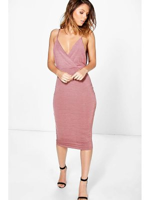 BOOHOO Kylia Drape Cowl Textured Slinky Midi Dress