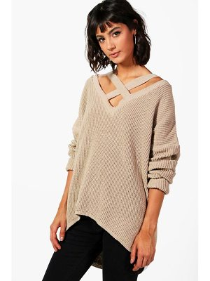 Boohoo Oversized Strap Neck Sweater