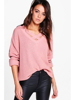 BOOHOO Lacey Strap Detail Fisherman Jumper