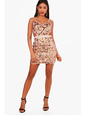 BOOHOO Lanie Strappy Sequin Bodycon Dress