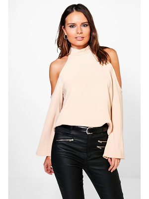 Boohoo Cold Shoulder Flute Sleeve Turtle Neck Top
