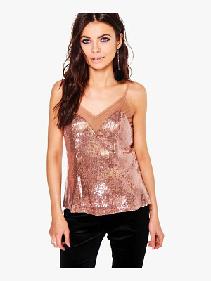 Boohoo Laura Sequin Mesh Panel Cami