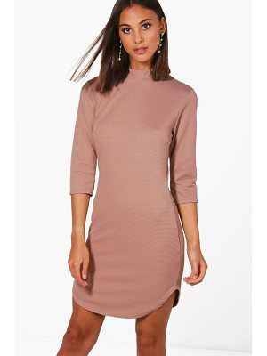 BOOHOO Lauren Heavy Rib Curved Hem Bodycon Dress